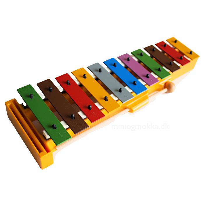 klokkespil med grundstemte stave i forskellige farver