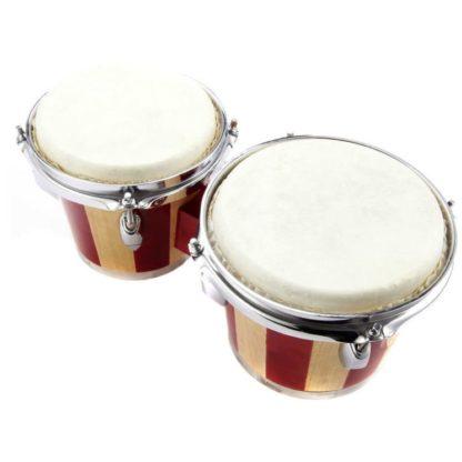 Et bongosæt i træ og naturskind