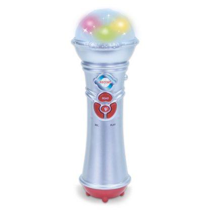 Grå legetøjsmikrofon med lyseffekt