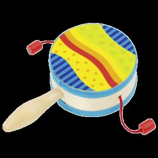 Håndtromme i farver måler 10 cm i omkreds.