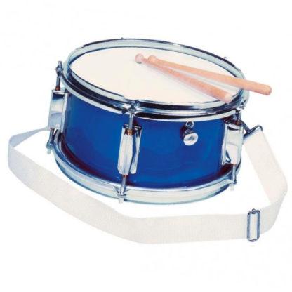 Flot blå tromme med 2 trommestikker og en rem