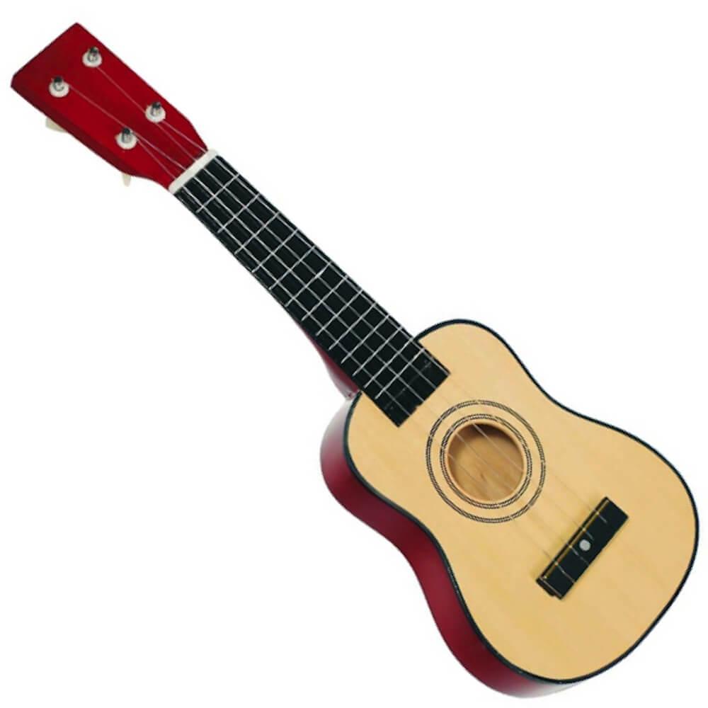 ukulele i træ med fire strenge