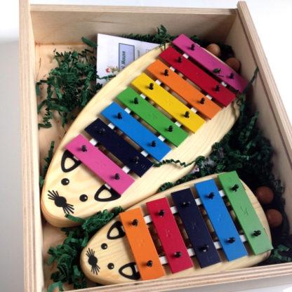 instrumenter af træ i en kasse