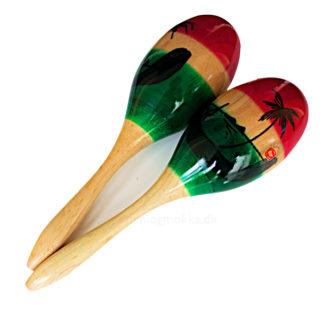 et par store maracas i træ - farvet i grøn, gul og rød ved siden af hinanden