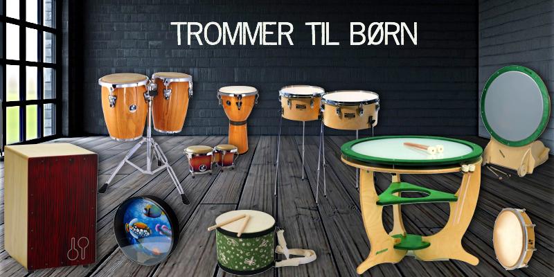 Et udvalg af trommer som er velgnede til børn både i skolen og derhjemme.