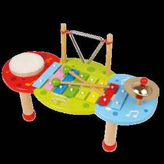 musikbord med udvalg af musikinstrumenter