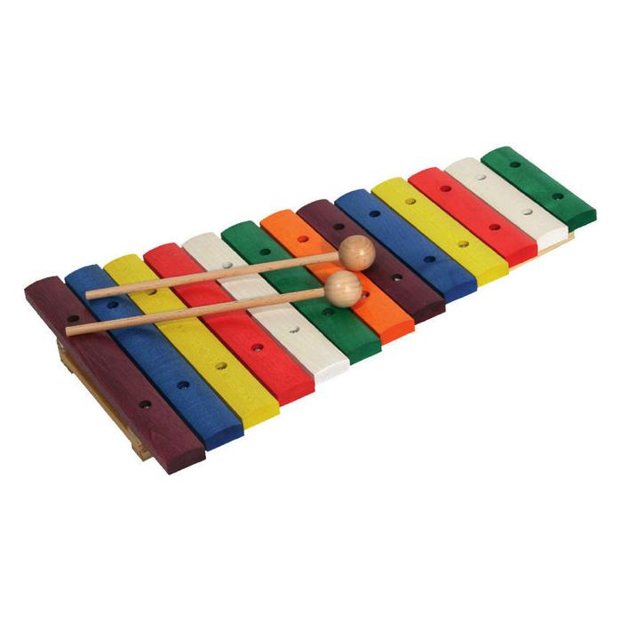 xylofon i ahorn med farvede klangstave