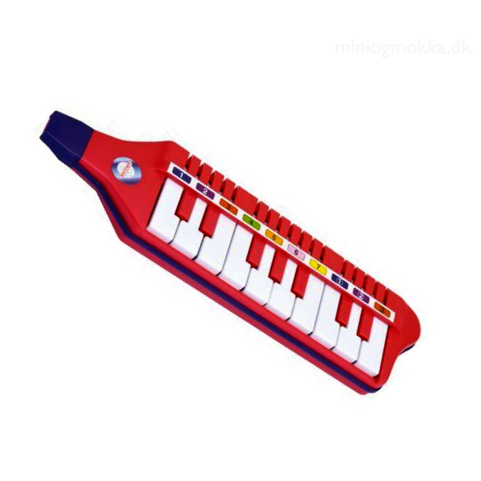 Rød melodica med hvide tangenter