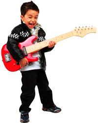 En sej fyr spiller på sin røde elguitar iført læderjakke