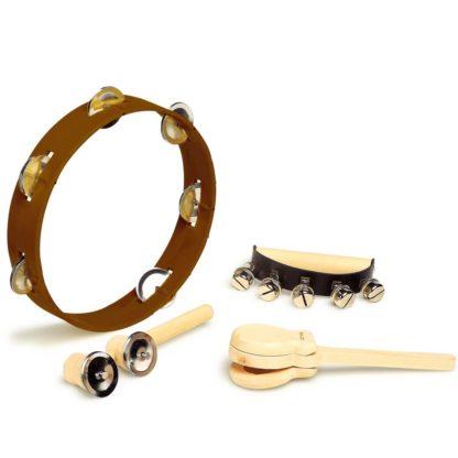 rytmesæt med tamburin, kastagnett, bjælder og raslepind