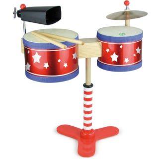 Legetøjs trommesæt med to trommer, bækken og koklokke