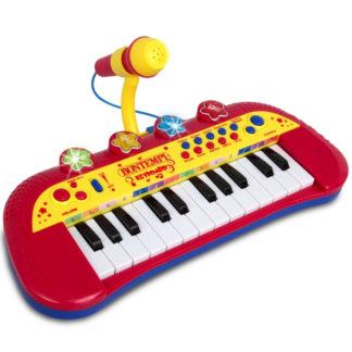 Rød legetøjskeyboard med mikrofon