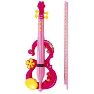 plastikviolin i pink med bue og 8 melodier