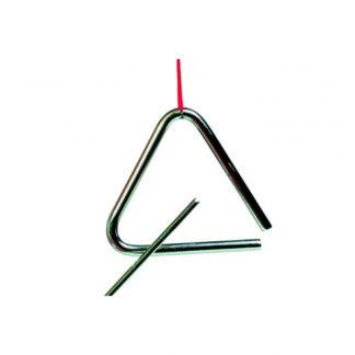 En mini triangel med metal trommestik