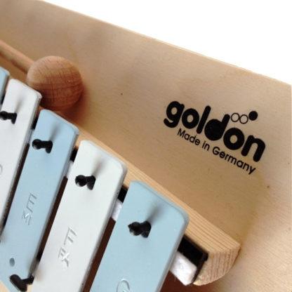 """Nærbillede af logoet med teksten """"Goldon"""""""