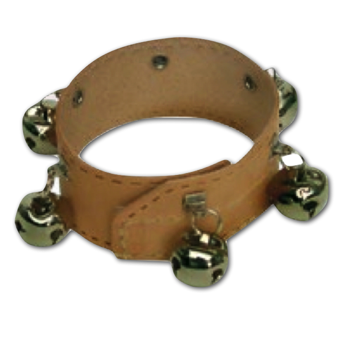 Rytmikarmbånd i læder med 6 klokker.