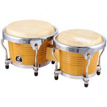 Store bongotrommer i træ med gul lak