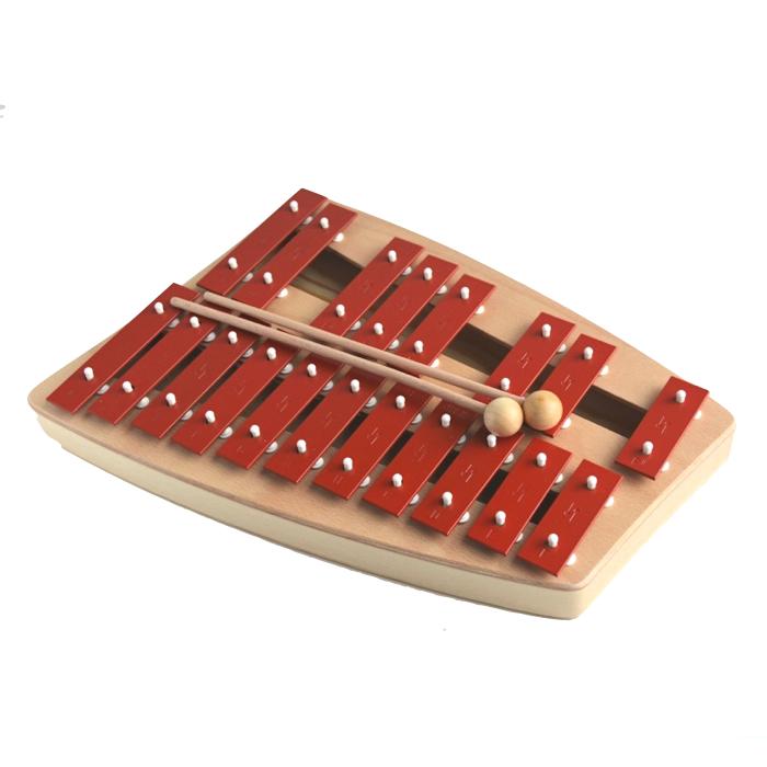 Metallofon instrument med røde klangstave