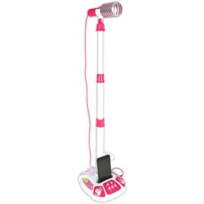 Legetøjsmikrofon med stativ i pink og hvid