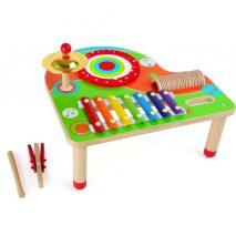 legetøjsbord i mange farver med musiklegetøj