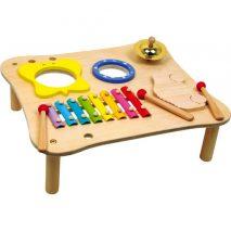aktivitetsbord i træ med musikinstrumenter