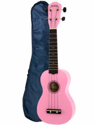 rosa sopranukulele sammen med en ukuleletakse