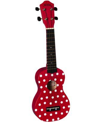 Baton Rouge ladybug ukulele i rød med hvide prikker