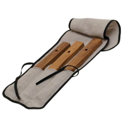 3 krydstone klangstave i hårdtræ monteret i taske