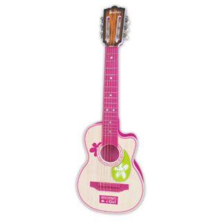 Pink legetøjsguitar med metalstrenge westernstil