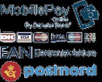 Betal med MobilePay, dankort, visa eller EAN nummer.