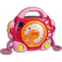 pink musikafspiller med cd og mikrofoner