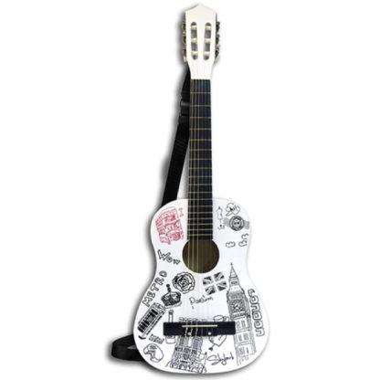 Hvid guitar med dekorationer over temaet London