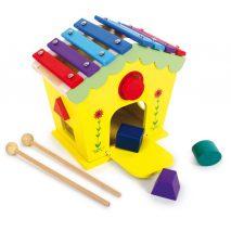 Puttekasse med klodser og xylofon i mange farver