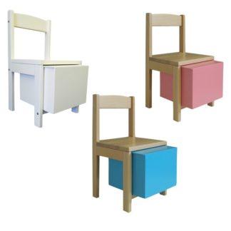 Børnestole med trommekasse under i forskellige farver
