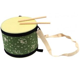 grøn tromme med to trommestikker