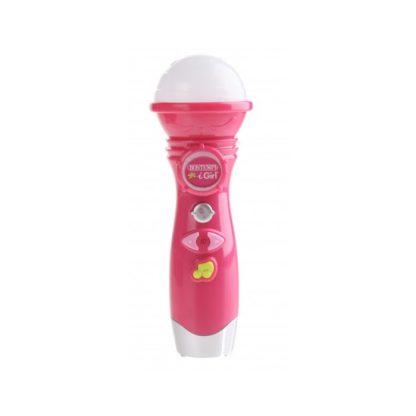 Pink legetøjsmikrofon med optagefunktion og lyd/lyseffekter