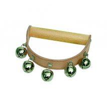 Klokkekrans/bjældekrans med 5 bjælder på lys læderkrans med træhåndtag