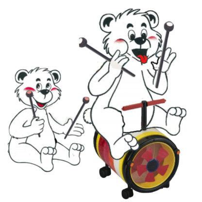 Kør og spil tromme med en musikglad bamse på