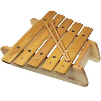 marimba i træ med seks toner
