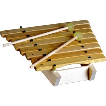 xylofon med to køller med gummihovede