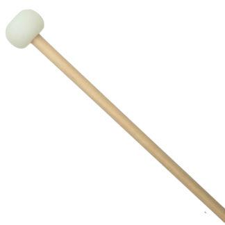En lille xylofonkølle med træskafte og gummihoved