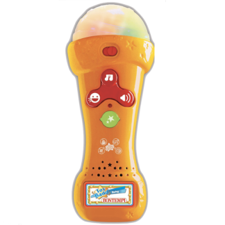 En gul legetøjsmikrofon anbefalet fra 2+