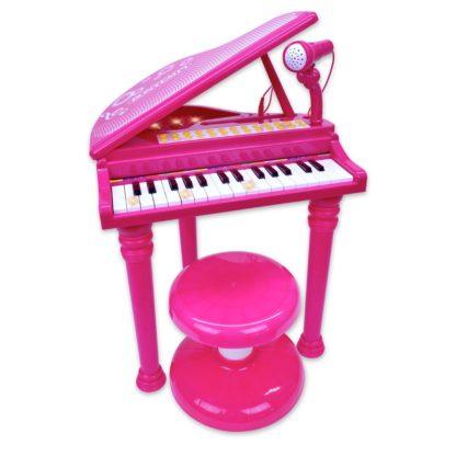 Pink legetøjsflygel med stol og mikrofon