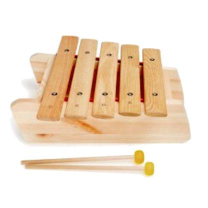 Marimba i træ med fem toner og to køller