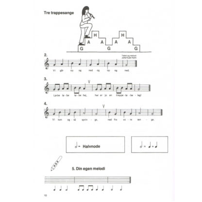 tre trappesange eksempel fra blokfløjtebogen