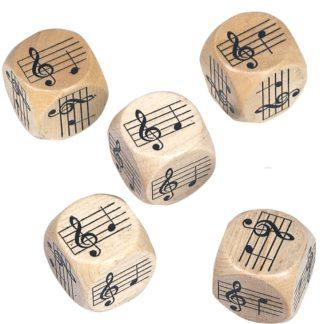 5 terninger med 5 toner c, d, f, g, a, c, )