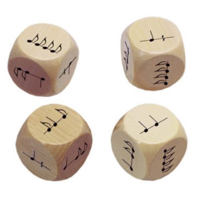 fire terninger med noder og rytmer