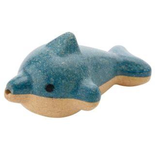 Blå og hvid fløjte udformet som delfin