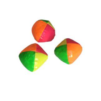 3 jonglørbolde i grøn, pink, gul og orange