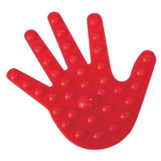 Rød gummihånd med knopper